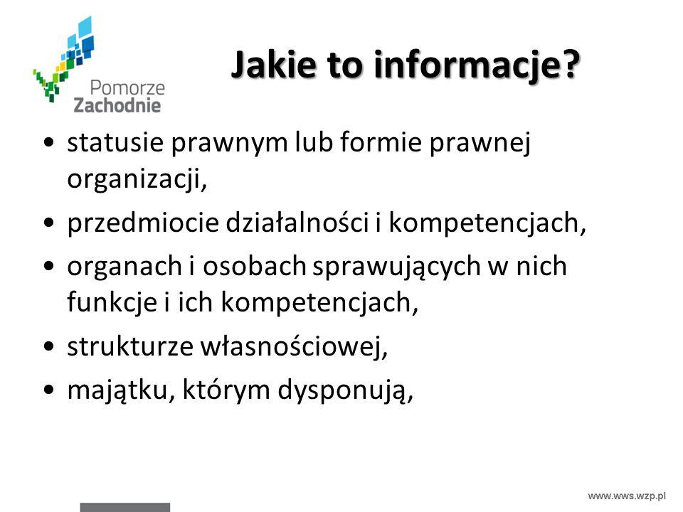 Jakie to informacje? statusie prawnym lub formie prawnej organizacji, przedmiocie działalności i kompetencjach, organach i osobach sprawujących w nich