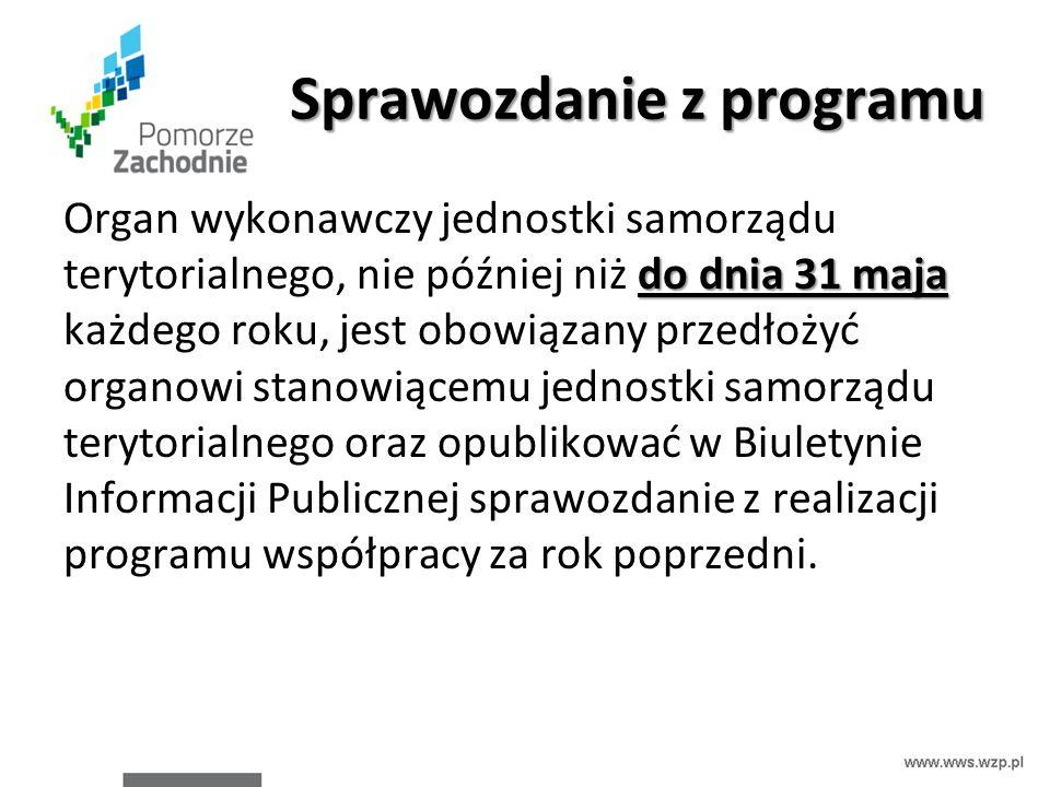 Sprawozdanie z programu do dnia 31 maja Organ wykonawczy jednostki samorządu terytorialnego, nie później niż do dnia 31 maja każdego roku, jest obowią