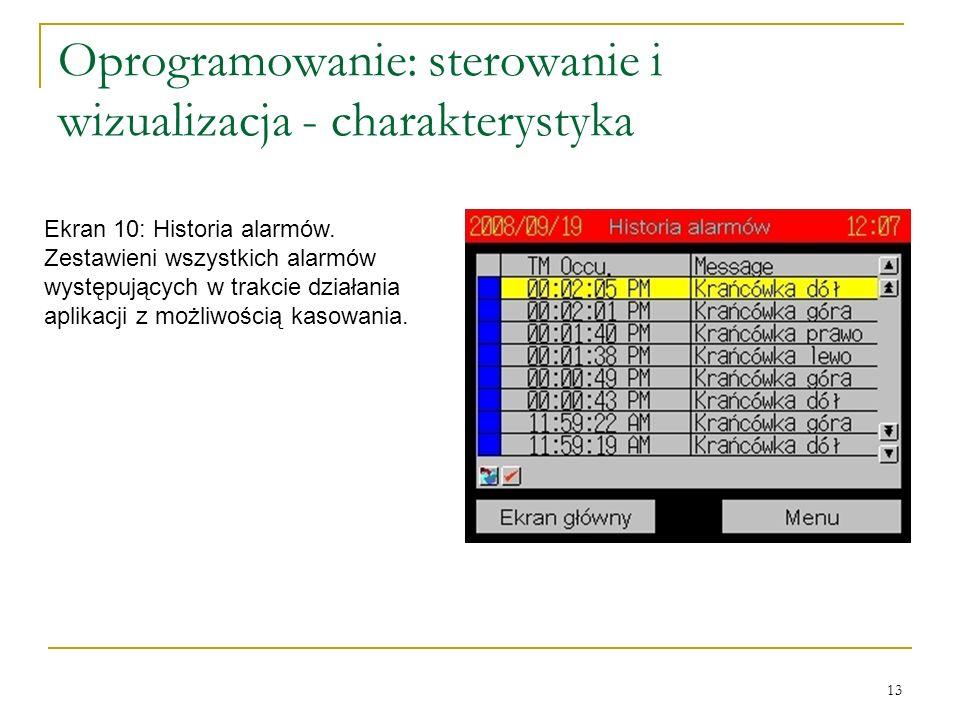 13 Oprogramowanie: sterowanie i wizualizacja - charakterystyka Ekran 10: Historia alarmów.