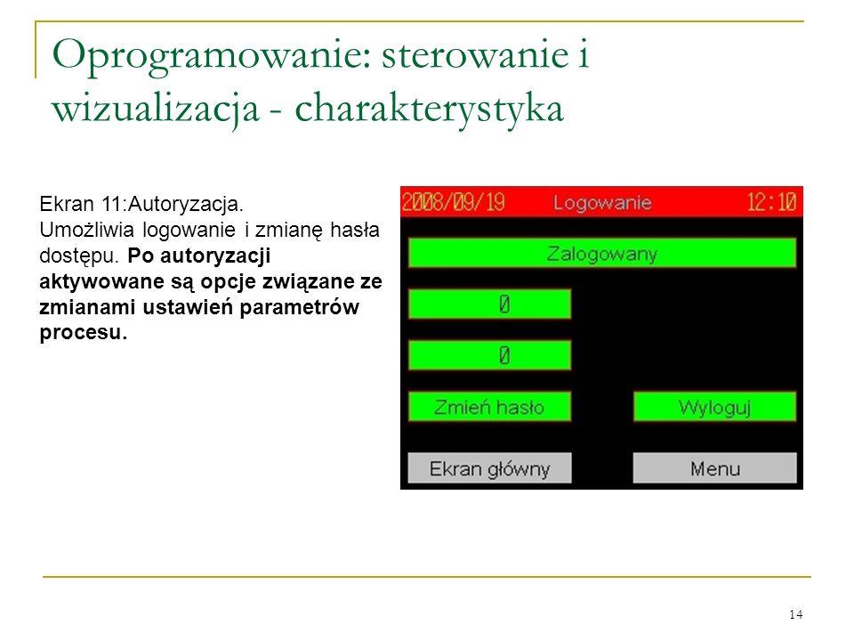 14 Oprogramowanie: sterowanie i wizualizacja - charakterystyka Ekran 11:Autoryzacja.