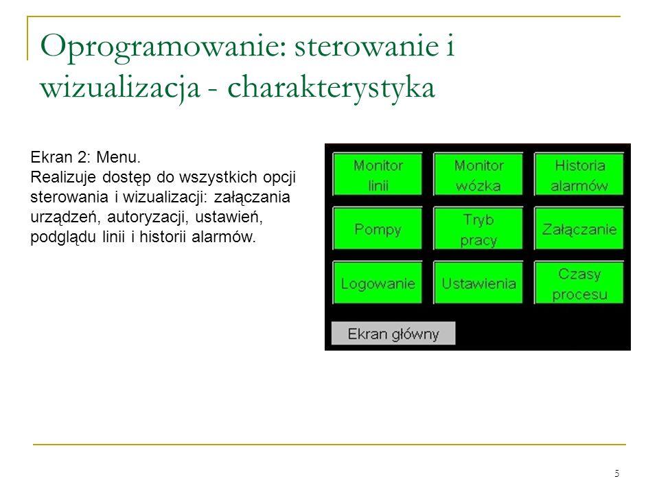 5 Oprogramowanie: sterowanie i wizualizacja - charakterystyka Ekran 2: Menu.