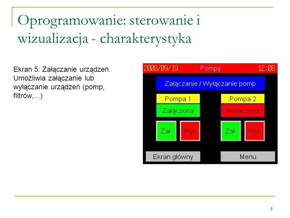 8 Oprogramowanie: sterowanie i wizualizacja - charakterystyka Ekran 5: Załączanie urządzeń.