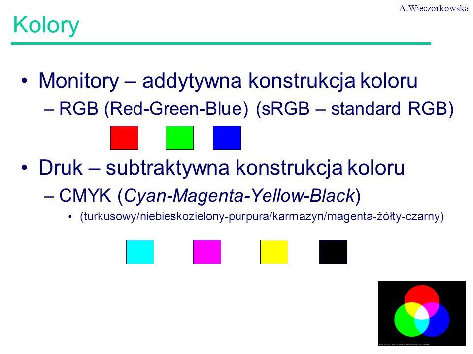 A.Wieczorkowska 10 Kolory Monitory – addytywna konstrukcja koloru –RGB (Red-Green-Blue) (sRGB – standard RGB) Druk – subtraktywna konstrukcja koloru –CMYK (Cyan-Magenta-Yellow-Black) (turkusowy/niebieskozielony-purpura/karmazyn/magenta-żółty-czarny)