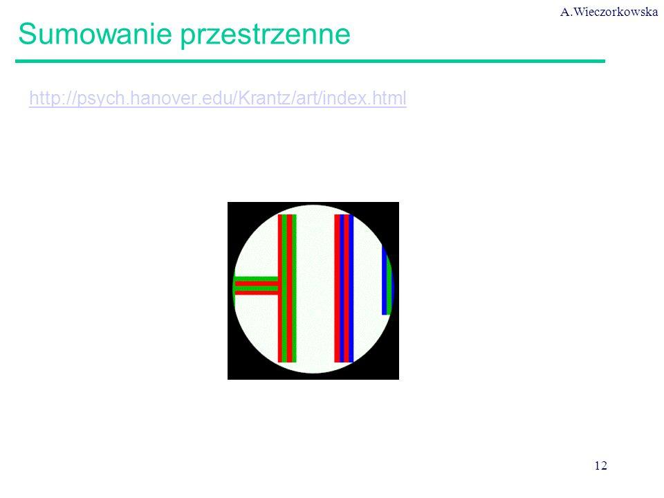 A.Wieczorkowska 12 Sumowanie przestrzenne http://psych.hanover.edu/Krantz/art/index.html