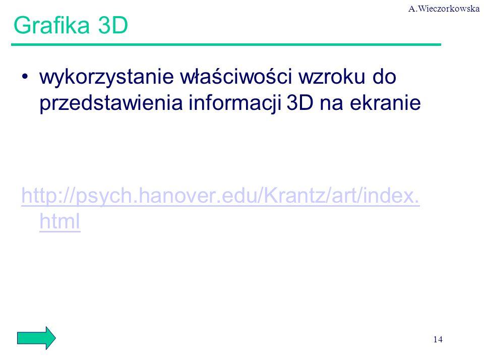 A.Wieczorkowska 14 Grafika 3D wykorzystanie właściwości wzroku do przedstawienia informacji 3D na ekranie http://psych.hanover.edu/Krantz/art/index.