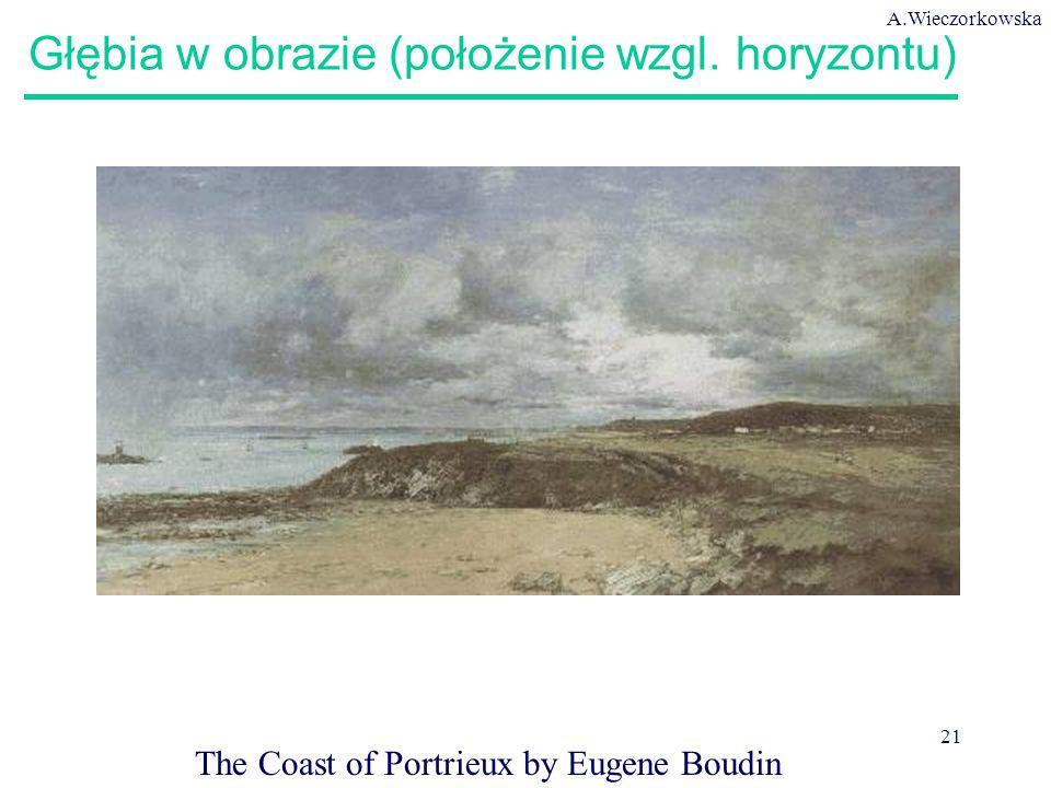 A.Wieczorkowska 21 Głębia w obrazie (położenie wzgl. horyzontu) The Coast of Portrieux by Eugene Boudin