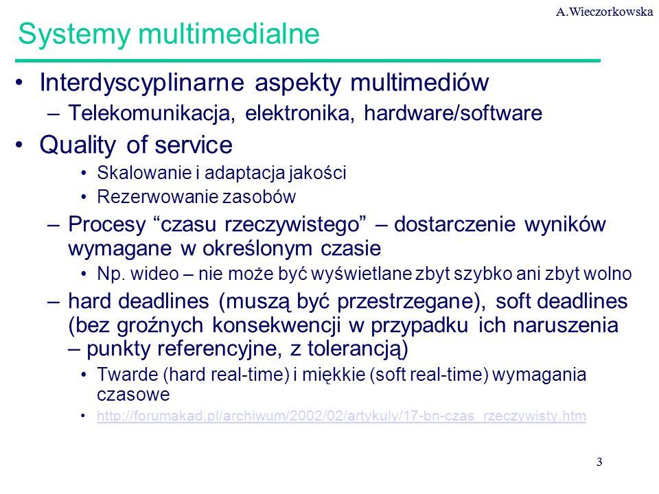 A.Wieczorkowska 3 3 Systemy multimedialne Interdyscyplinarne aspekty multimediów –Telekomunikacja, elektronika, hardware/software Quality of service S