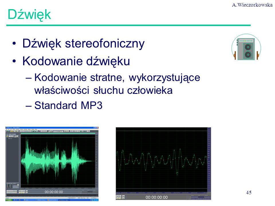 A.Wieczorkowska 45 Dźwięk Dźwięk stereofoniczny Kodowanie dźwięku –Kodowanie stratne, wykorzystujące właściwości słuchu człowieka –Standard MP3