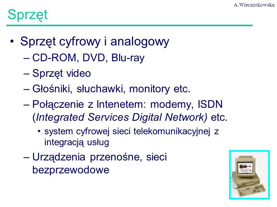 A.Wieczorkowska 51 Sprzęt Sprzęt cyfrowy i analogowy –CD-ROM, DVD, Blu-ray –Sprzęt video –Głośniki, słuchawki, monitory etc. –Połączenie z Intenetem: