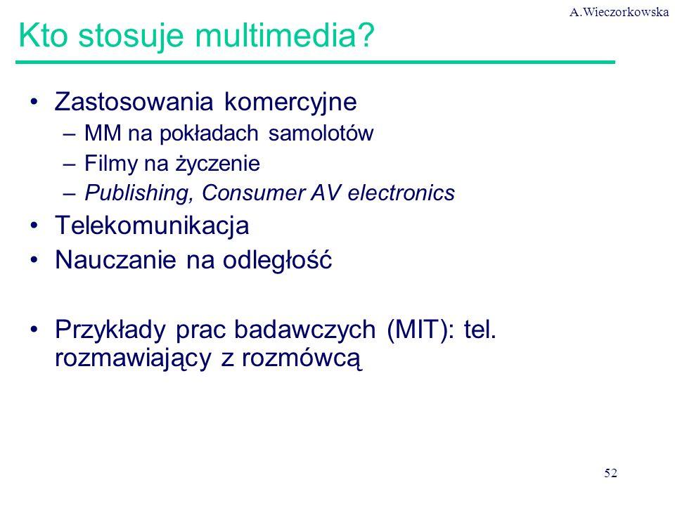A.Wieczorkowska 52 Kto stosuje multimedia? Zastosowania komercyjne –MM na pokładach samolotów –Filmy na życzenie –Publishing, Consumer AV electronics