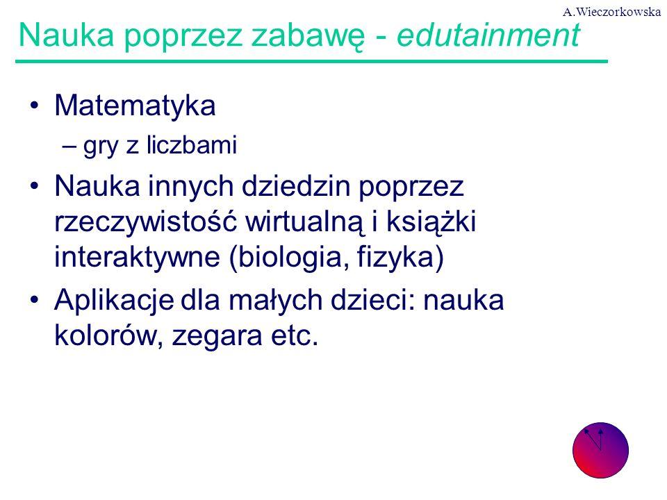 A.Wieczorkowska 57 Nauka poprzez zabawę - edutainment Matematyka –gry z liczbami Nauka innych dziedzin poprzez rzeczywistość wirtualną i książki inter