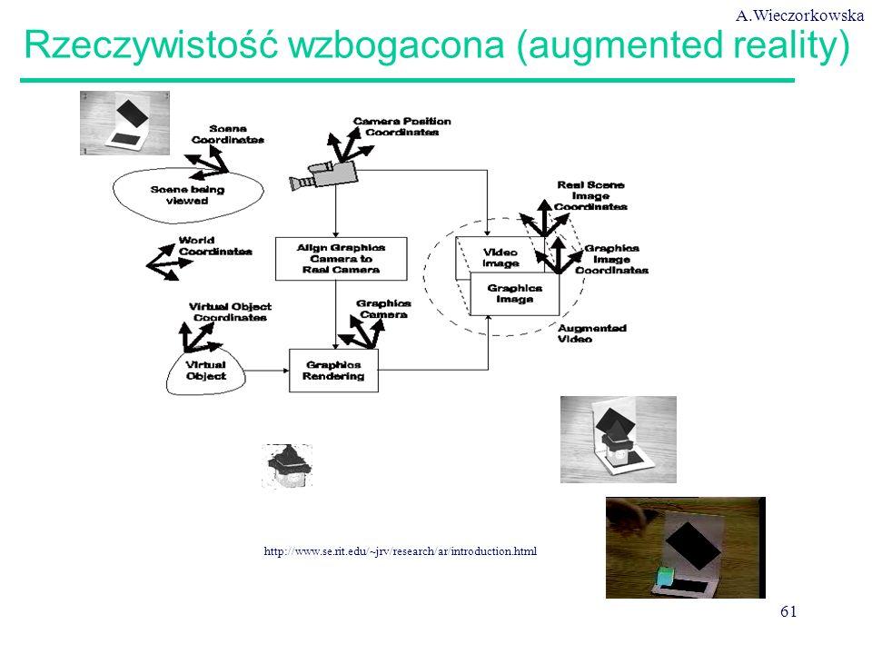 A.Wieczorkowska 61 http://www.se.rit.edu/~jrv/research/ar/introduction.html Rzeczywistość wzbogacona (augmented reality)