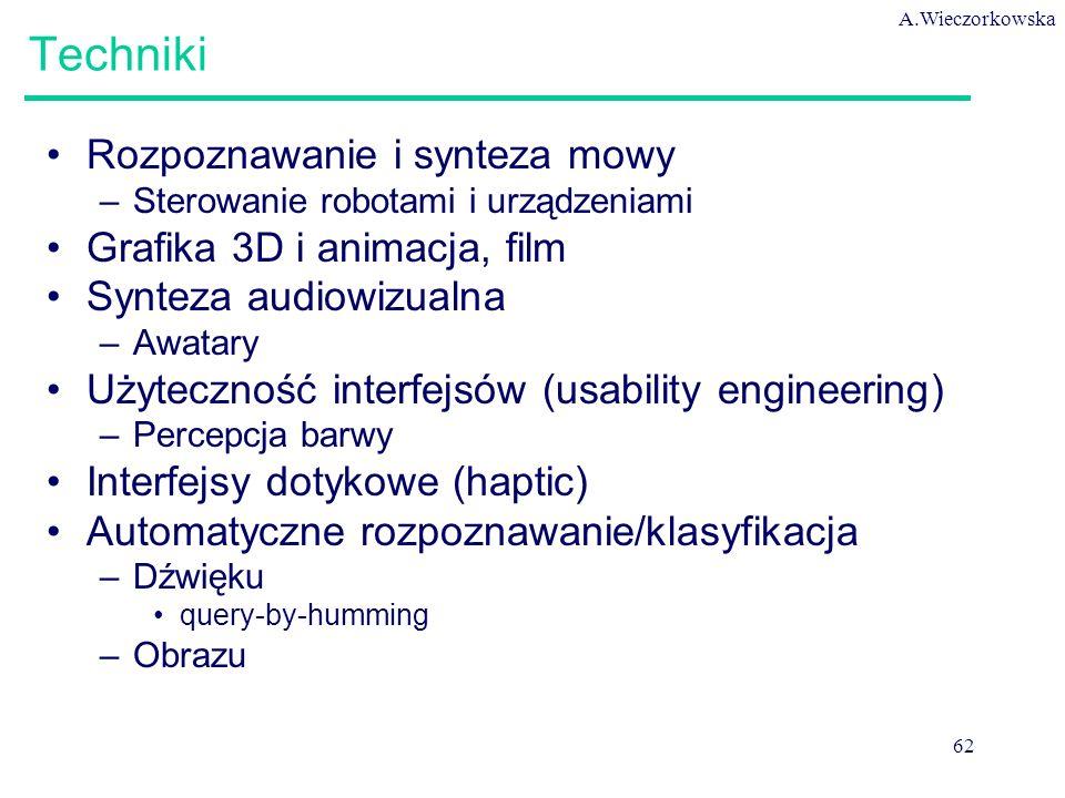 A.Wieczorkowska 62 Techniki Rozpoznawanie i synteza mowy –Sterowanie robotami i urządzeniami Grafika 3D i animacja, film Synteza audiowizualna –Awatary Użyteczność interfejsów (usability engineering) –Percepcja barwy Interfejsy dotykowe (haptic) Automatyczne rozpoznawanie/klasyfikacja –Dźwięku query-by-humming –Obrazu