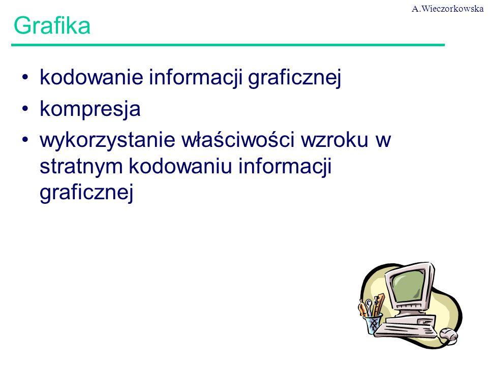A.Wieczorkowska 8 Grafika kodowanie informacji graficznej kompresja wykorzystanie właściwości wzroku w stratnym kodowaniu informacji graficznej