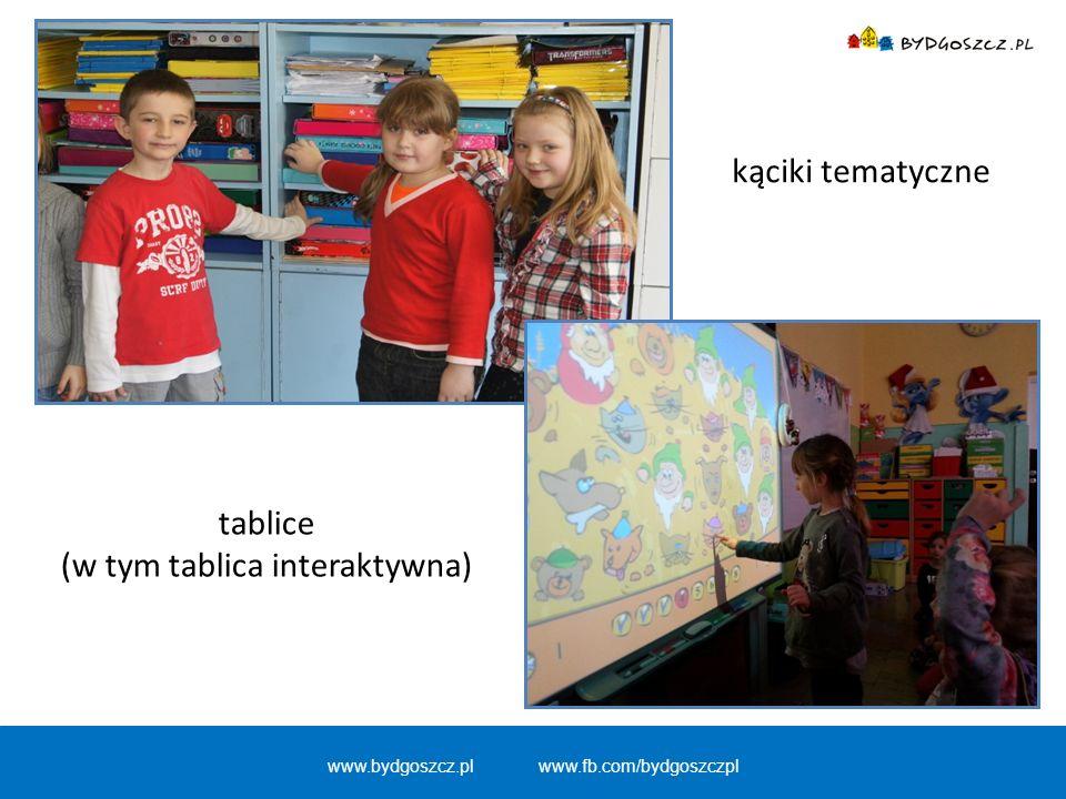 tablice (w tym tablica interaktywna) www.bydgoszcz.pl www.fb.com/bydgoszczpl kąciki tematyczne