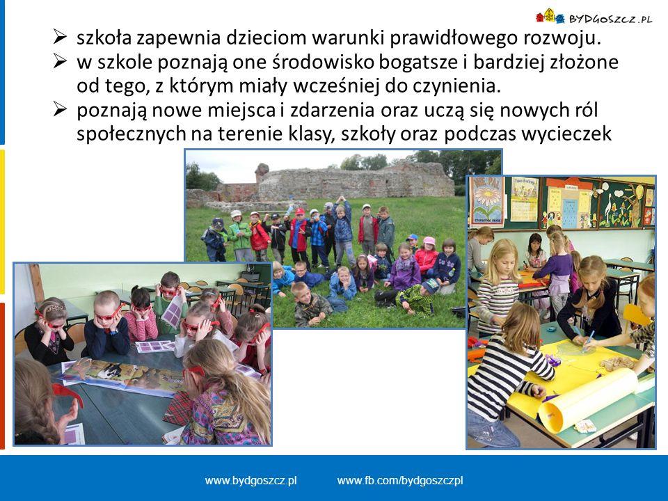 www.bydgoszcz.pl www.fb.com/bydgoszczpl Sale lekcyjne podzielone na :  część edukacyjną, w której znajdują się ławki (dostosowane do wzrostu dzieci), pomoce dydaktyczne,