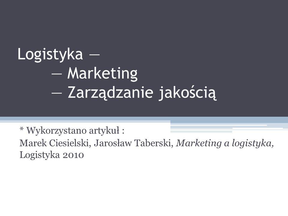 Logistyka — — Marketing — Zarządzanie jakością * Wykorzystano artykuł : Marek Ciesielski, Jarosław Taberski, Marketing a logistyka, Logistyka 2010