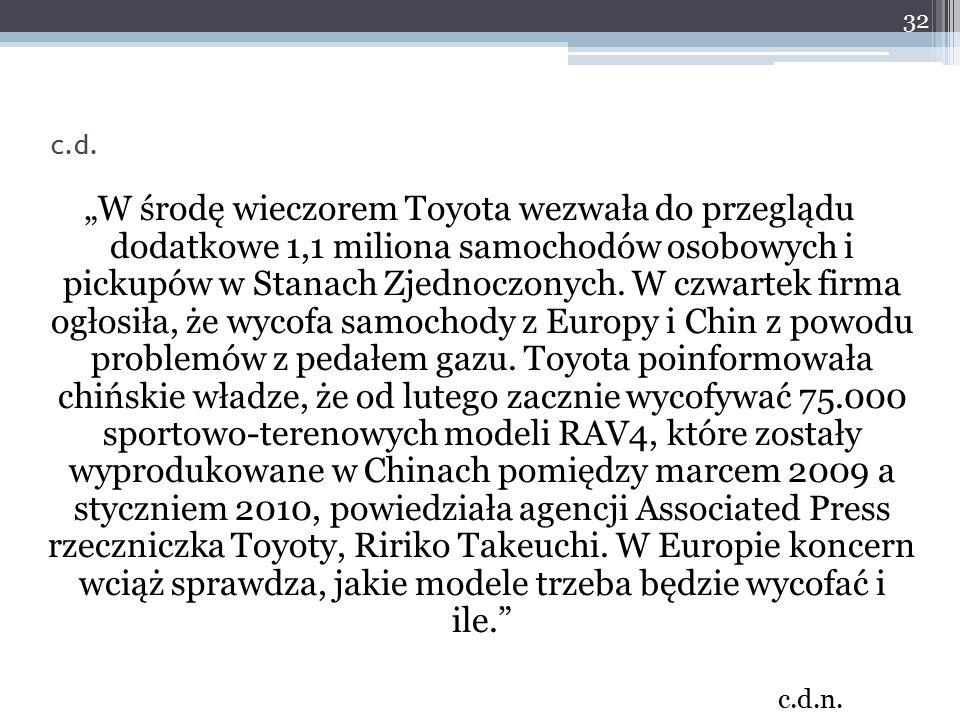 """""""W środę wieczorem Toyota wezwała do przeglądu dodatkowe 1,1 miliona samochodów osobowych i pickupów w Stanach Zjednoczonych. W czwartek firma ogłosił"""