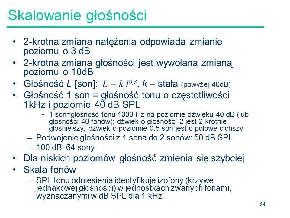 34 Skalowanie głośności 2-krotna zmiana natężenia odpowiada zmianie poziomu o 3 dB 2-krotna zmiana głośności jest wywołana zmianą poziomu o 10dB Głośność L [son]: L = k I 0,3, k – stała (powyżej 40dB) Głośność 1 son = głośność tonu o częstotliwości 1kHz i poziomie 40 dB SPL 1 son=głośność tonu 1000 Hz na poziomie dźwięku 40 dB (lub głośności 40 fonów); dźwięk o głośności 2 jest 2-krotnie głośniejszy, dźwięk o poziomie 0.5 son jest o połowę cichszy –Podwojenie głośności z 1 sona do 2 sonów: 50 dB SPL –100 dB: 64 sony Dla niskich poziomów głośność zmienia się szybciej Skala fonów –SPL tonu odniesienia identyfikuje izofony (krzywe jednakowej głośności) w jednostkach zwanych fonami, wyznaczanymi w dB SPL dla 1 kHz