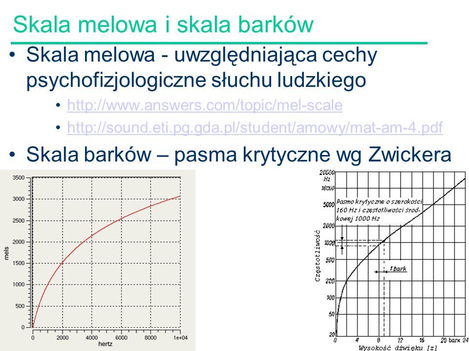57 Skala melowa i skala barków Skala melowa - uwzględniająca cechy psychofizjologiczne słuchu ludzkiego http://www.answers.com/topic/mel-scale http://sound.eti.pg.gda.pl/student/amowy/mat-am-4.pdf Skala barków – pasma krytyczne wg Zwickera