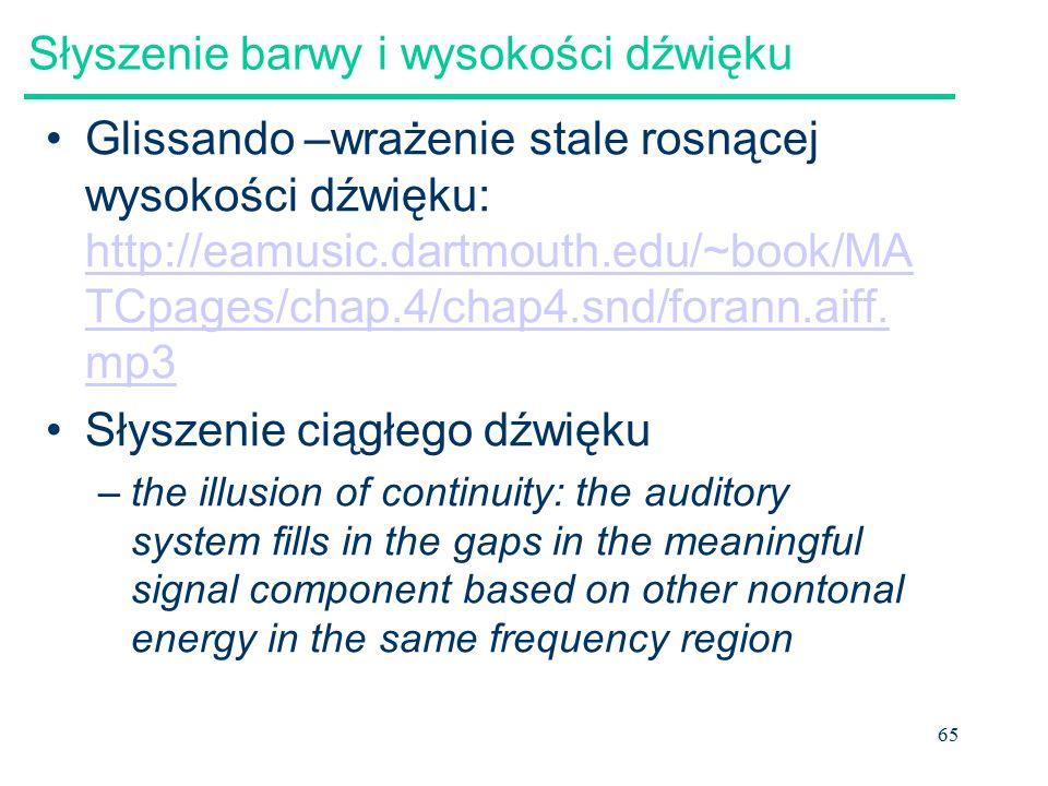 65 Słyszenie barwy i wysokości dźwięku Glissando –wrażenie stale rosnącej wysokości dźwięku: http://eamusic.dartmouth.edu/~book/MA TCpages/chap.4/chap4.snd/forann.aiff.