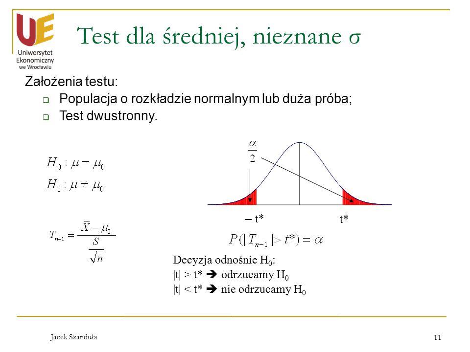 Jacek Szanduła 11 Test dla średniej, nieznane σ Założenia testu:  Populacja o rozkładzie normalnym lub duża próba;  Test dwustronny. – t* Decyzja od