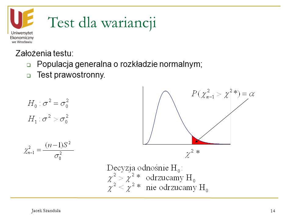 Jacek Szanduła 14 Test dla wariancji Założenia testu:  Populacja generalna o rozkładzie normalnym;  Test prawostronny.