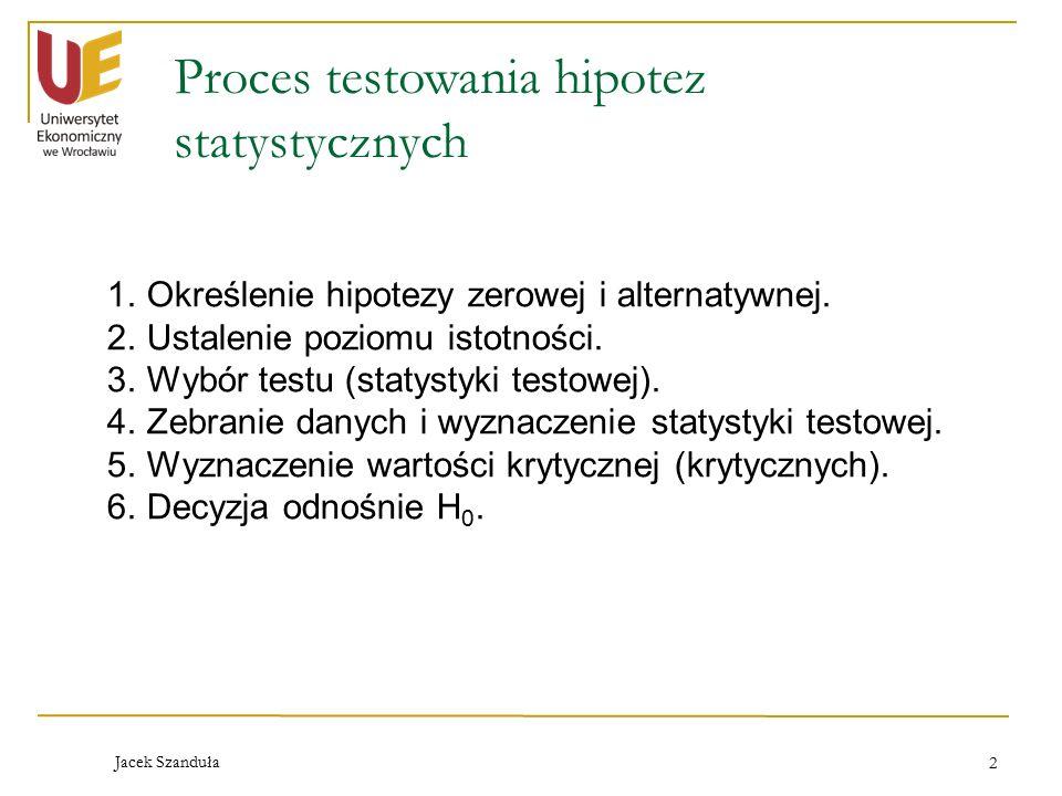 2 Proces testowania hipotez statystycznych 1.Określenie hipotezy zerowej i alternatywnej. 2.Ustalenie poziomu istotności. 3.Wybór testu (statystyki te