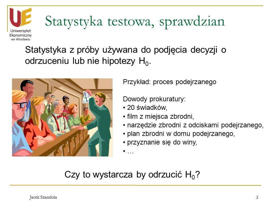 Jacek Szanduła 3 Statystyka testowa, sprawdzian Statystyka z próby używana do podjęcia decyzji o odrzuceniu lub nie hipotezy H 0.