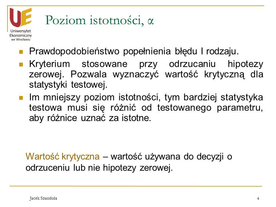 Jacek Szanduła 4 Poziom istotności, α Prawdopodobieństwo popełnienia błędu I rodzaju. Kryterium stosowane przy odrzucaniu hipotezy zerowej. Pozwala wy
