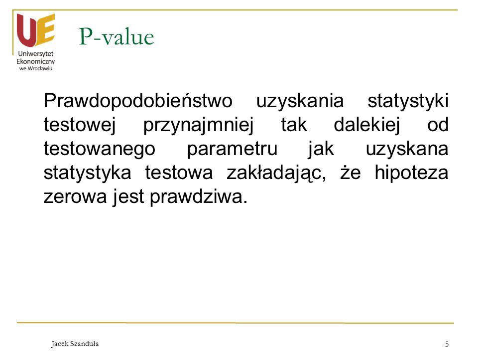 Jacek Szanduła 5 P-value Prawdopodobieństwo uzyskania statystyki testowej przynajmniej tak dalekiej od testowanego parametru jak uzyskana statystyka testowa zakładając, że hipoteza zerowa jest prawdziwa.