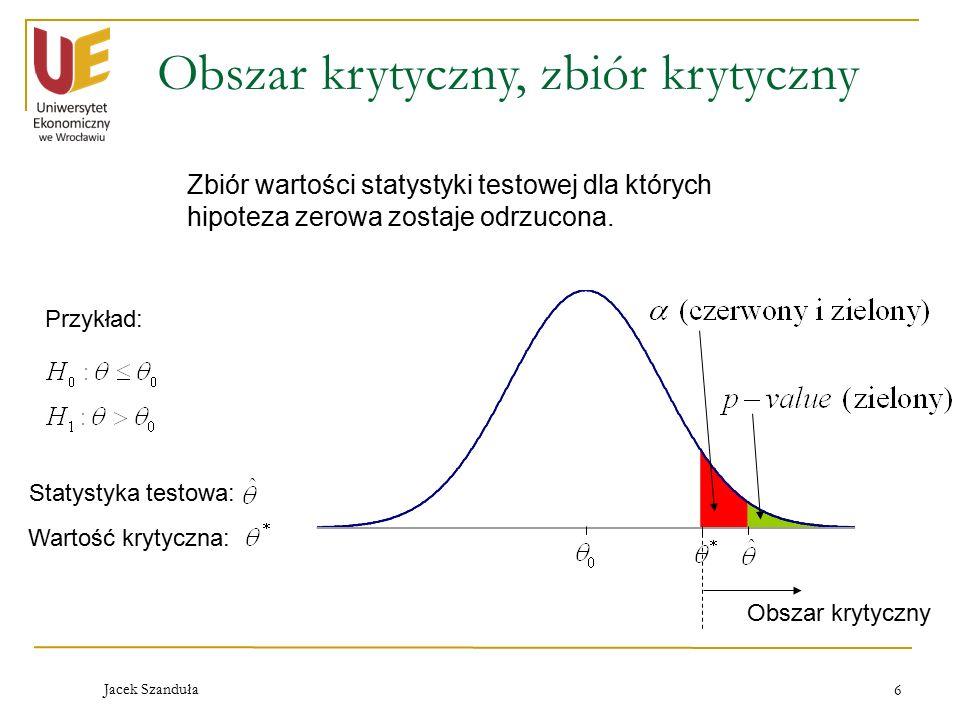 Jacek Szanduła 6 Obszar krytyczny, zbiór krytyczny Zbiór wartości statystyki testowej dla których hipoteza zerowa zostaje odrzucona. Przykład: Statyst
