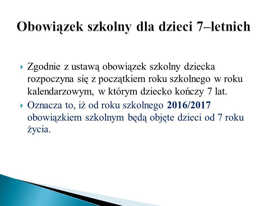  Zgodnie z ustawą obowiązek szkolny dziecka rozpoczyna się z początkiem roku szkolnego w roku kalendarzowym, w którym dziecko kończy 7 lat.
