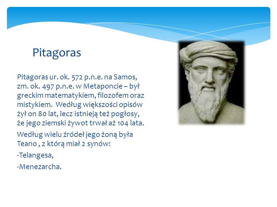 Pitagoras ur.ok. 572 p.n.e. na Samos, zm. ok. 497 p.n.e.