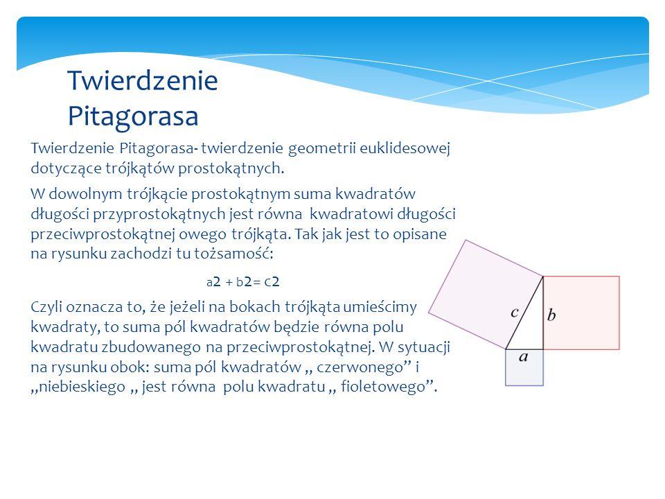 Twierdzenie Pitagorasa- twierdzenie geometrii euklidesowej dotyczące trójkątów prostokątnych.