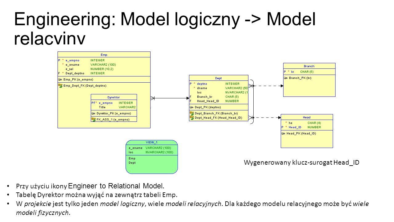 Engineering: Model logiczny -> Model relacyjny Przy użyciu ikony Engineer to Relational Model. Tabelę Dyrektor można wyjąć na zewnątrz tabeli Emp. W p