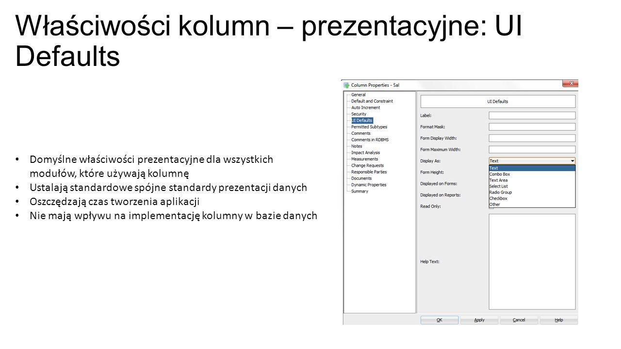 Właściwości kolumn – prezentacyjne: UI Defaults Domyślne właściwości prezentacyjne dla wszystkich modułów, które używają kolumnę Ustalają standardowe