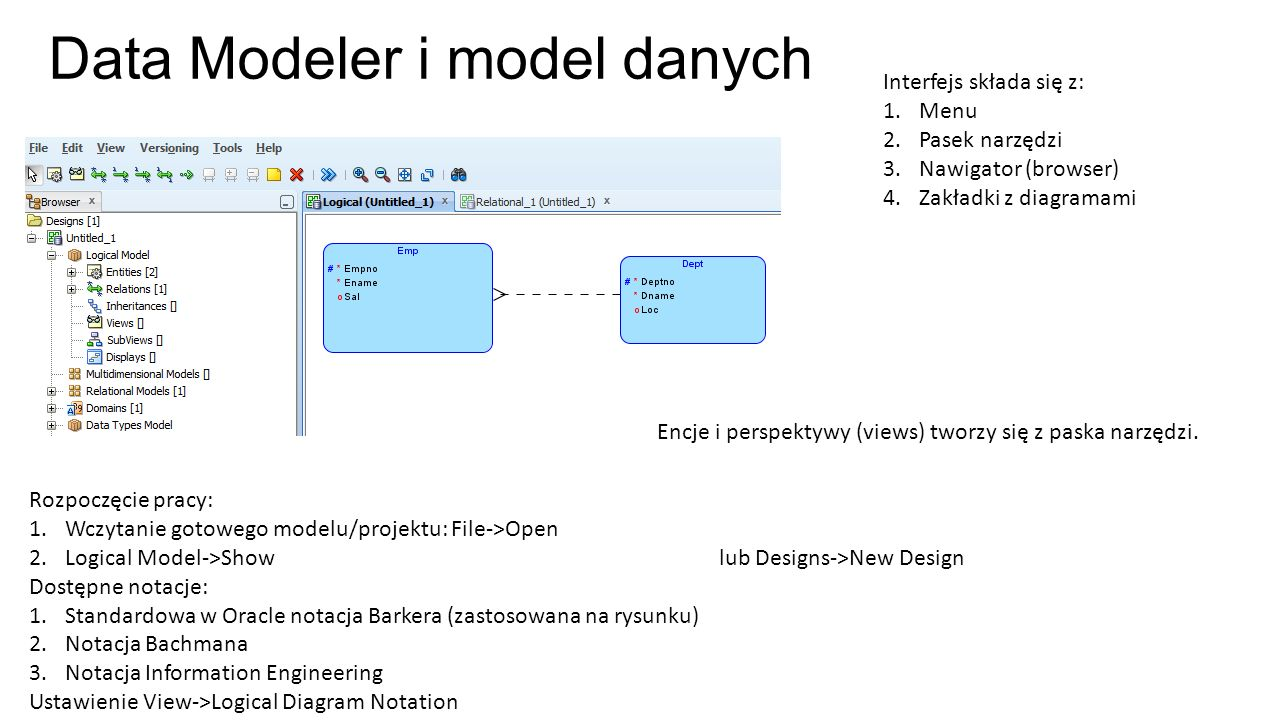 Data Modeler i model danych Rozpoczęcie pracy: 1.Wczytanie gotowego modelu/projektu: File->Open 2.Logical Model->Show lub Designs->New Design Dostępne