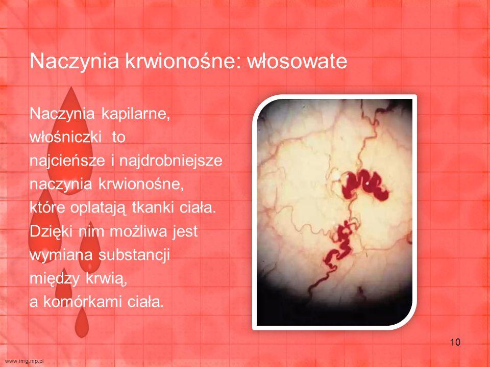 Naczynia krwionośne: włosowate Naczynia kapilarne, włośniczki to najcieńsze i najdrobniejsze naczynia krwionośne, które oplatają tkanki ciała. Dzięki