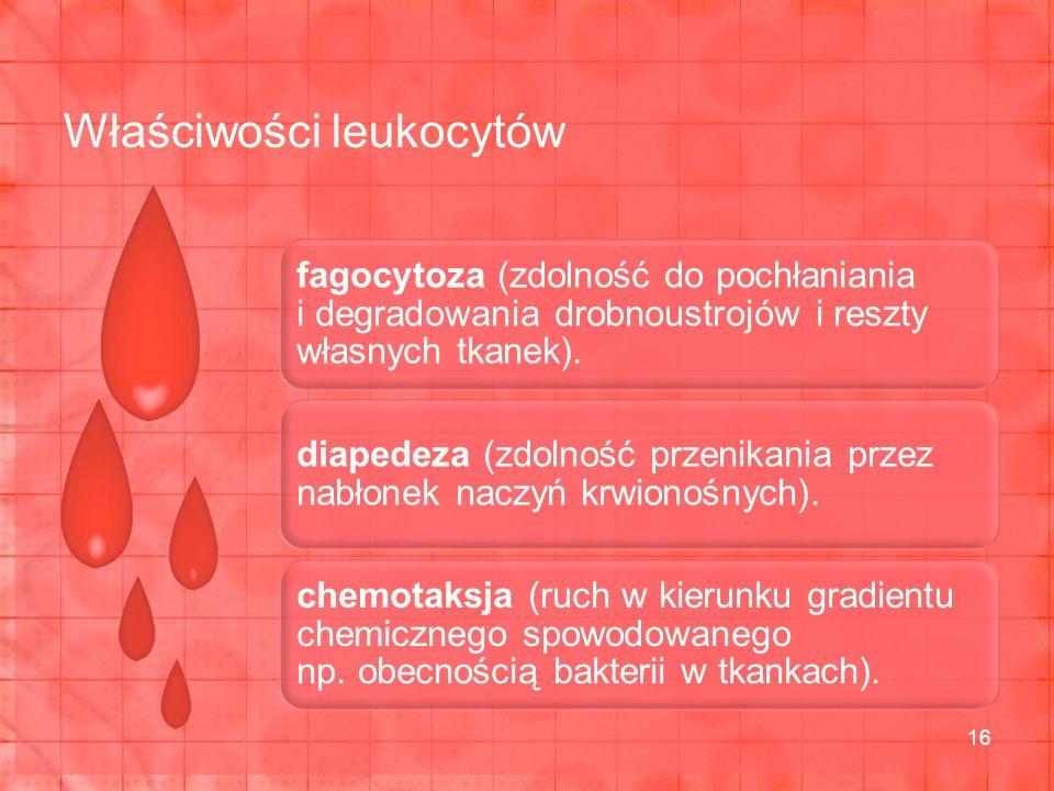 fagocytoza (zdolność do pochłaniania i degradowania drobnoustrojów i reszty własnych tkanek).