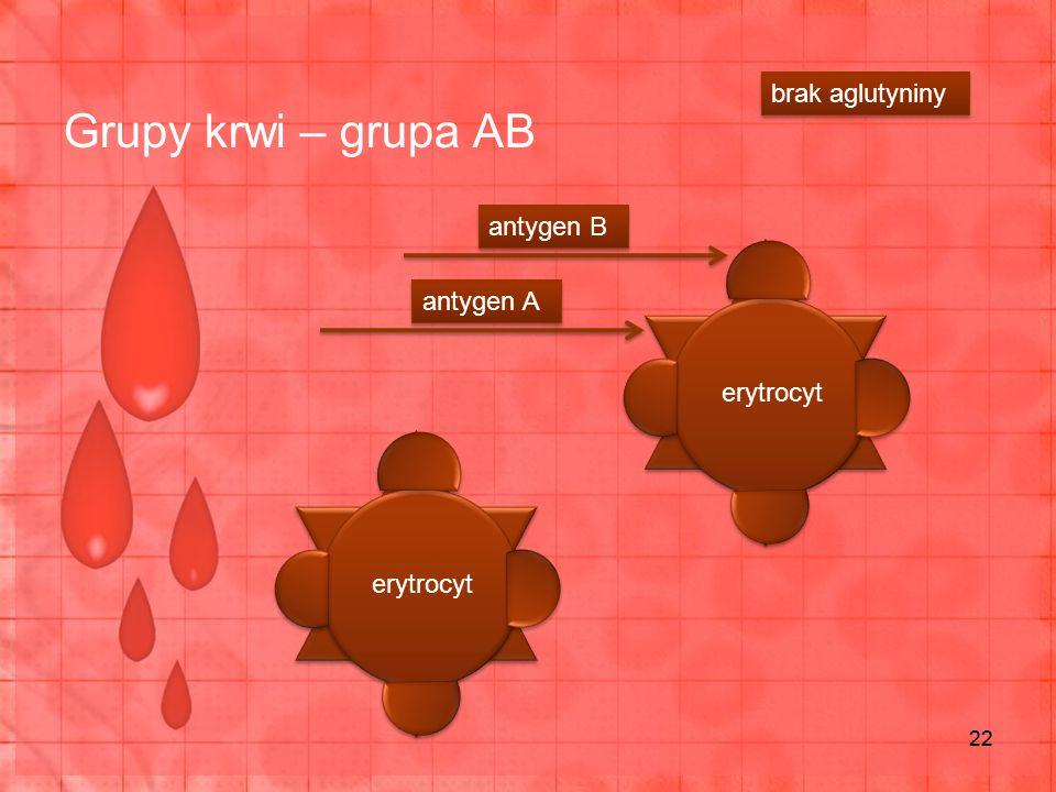Grupy krwi – grupa AB 22 erytrocyt antygen A antygen B brak aglutyniny