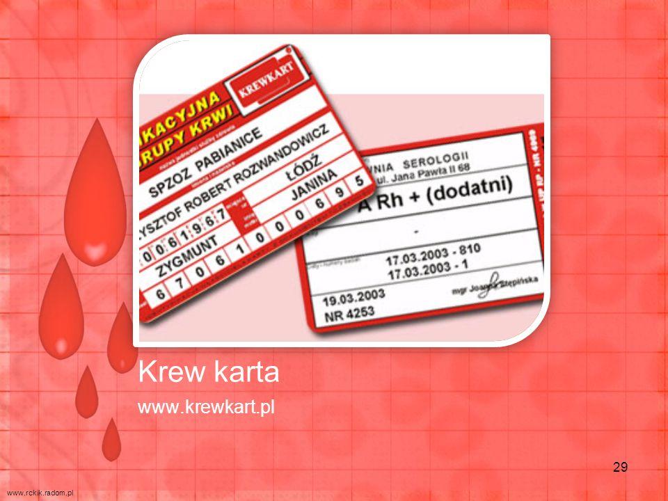 Krew karta www.krewkart.pl 29 www.rckik.radom.pl
