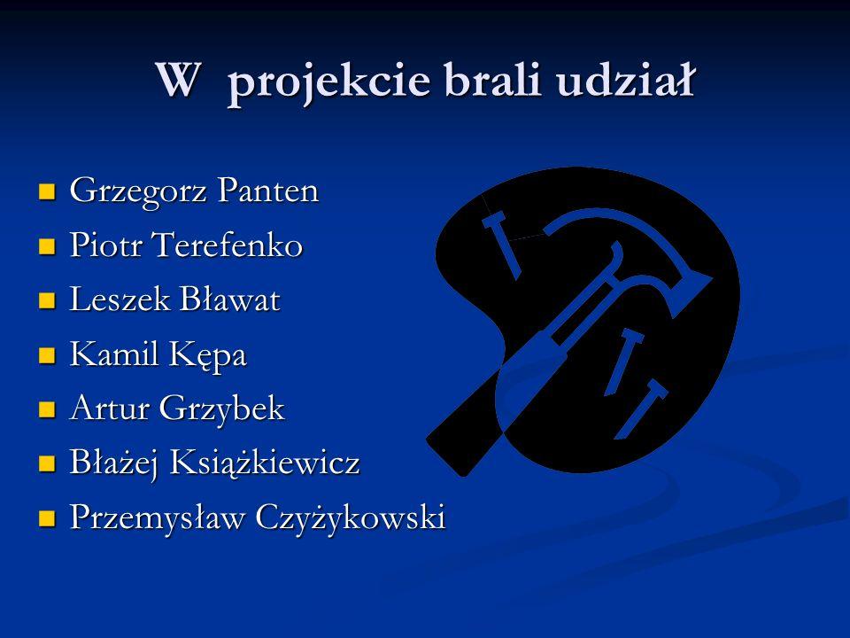 W projekcie brali udział Grzegorz Panten Grzegorz Panten Piotr Terefenko Piotr Terefenko Leszek Bławat Leszek Bławat Kamil Kępa Kamil Kępa Artur Grzyb