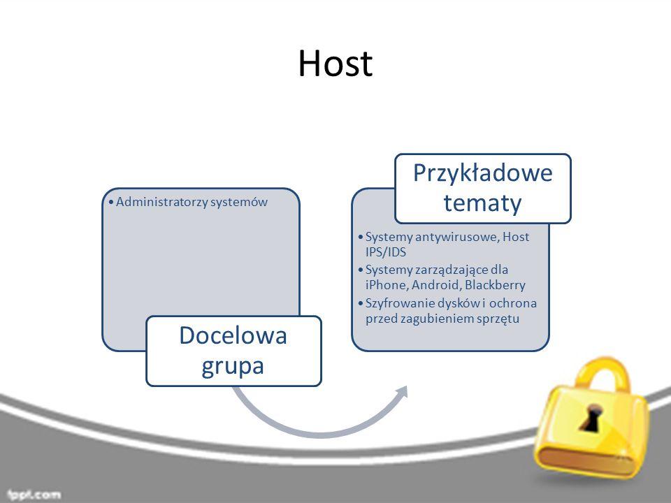 Host Administratorzy systemów Docelowa grupa Systemy antywirusowe, Host IPS/IDS Systemy zarządzające dla iPhone, Android, Blackberry Szyfrowanie dysków i ochrona przed zagubieniem sprzętu Przykładowe tematy