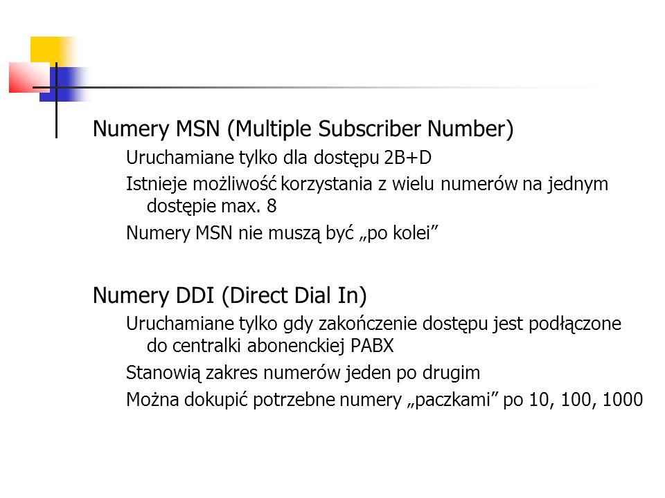 Numery MSN (Multiple Subscriber Number) Uruchamiane tylko dla dostępu 2B+D Istnieje możliwość korzystania z wielu numerów na jednym dostępie max. 8 Nu
