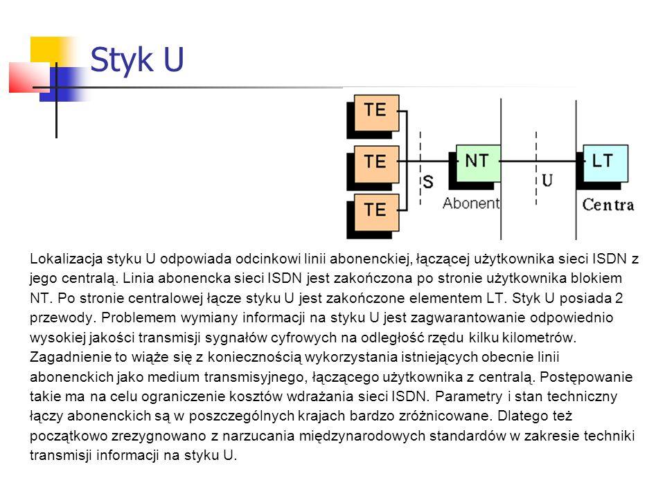 Styk U Lokalizacja styku U odpowiada odcinkowi linii abonenckiej, łączącej użytkownika sieci ISDN z jego centralą. Linia abonencka sieci ISDN jest zak