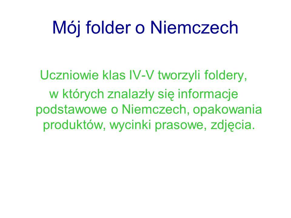 Mój folder o Niemczech Uczniowie klas IV-V tworzyli foldery, w których znalazły się informacje podstawowe o Niemczech, opakowania produktów, wycinki p