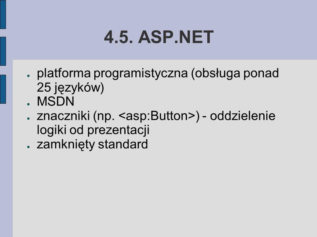 4.5. ASP.NET ● platforma programistyczna (obsługa ponad 25 języków) ● MSDN ● znaczniki (np.