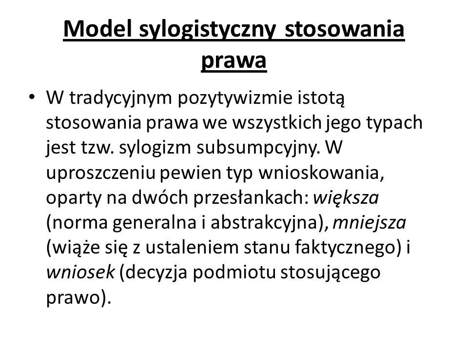 Model sylogistyczny stosowania prawa W tradycyjnym pozytywizmie istotą stosowania prawa we wszystkich jego typach jest tzw. sylogizm subsumpcyjny. W u