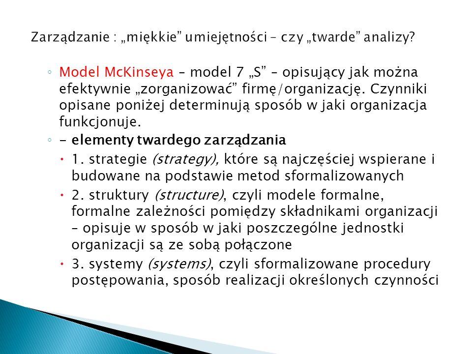 """◦ Model McKinseya – model 7 """"S"""" – opisujący jak można efektywnie """"zorganizować"""" firmę/organizację. Czynniki opisane poniżej determinują sposób w jaki"""
